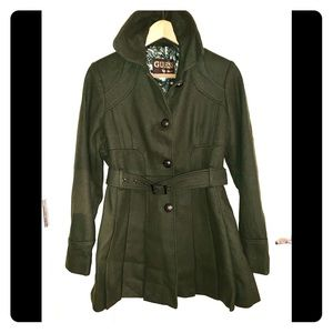 Guess Green Belted Trench Peacoat